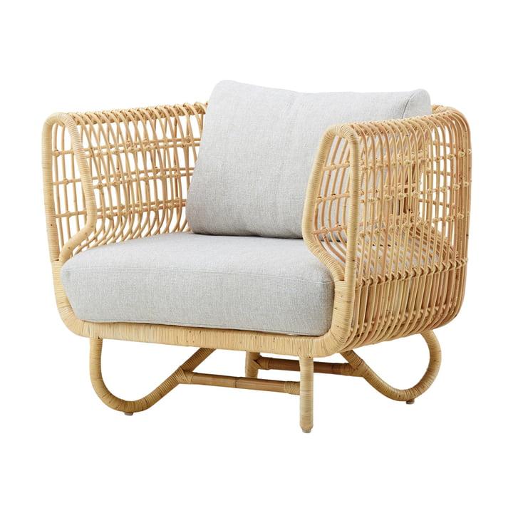 Fauteuil lounge Nest intérieur, naturel / natté gris clair par Cane-line