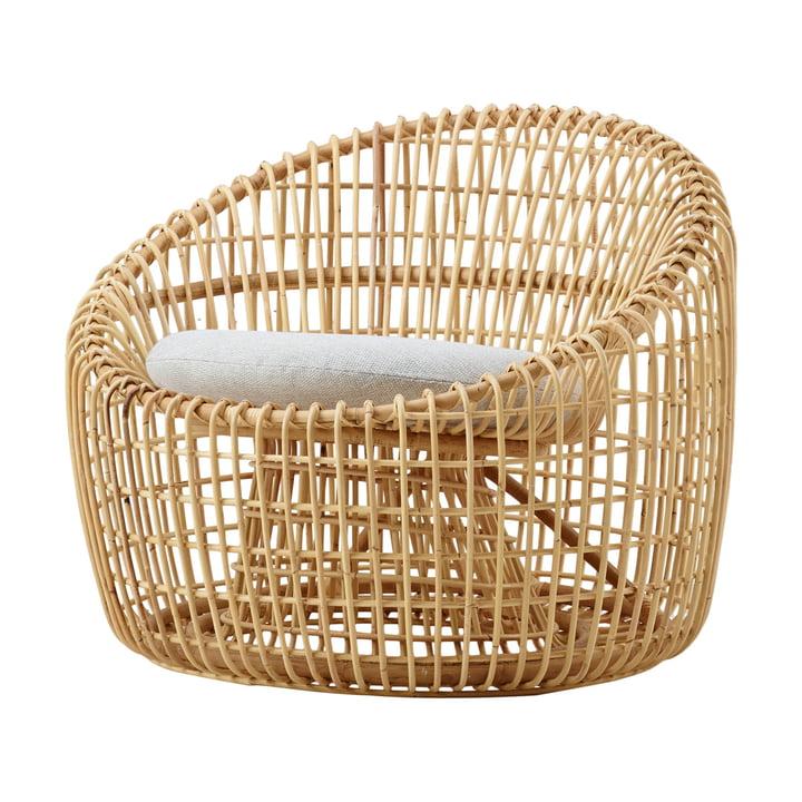 Fauteuil rond Nest intérieur, naturel / natté gris clair par Cane-line
