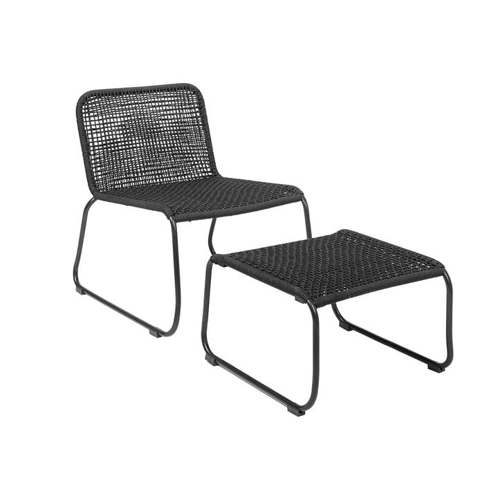 Chaise longue Mundo avec pouf Bloomingville en noir
