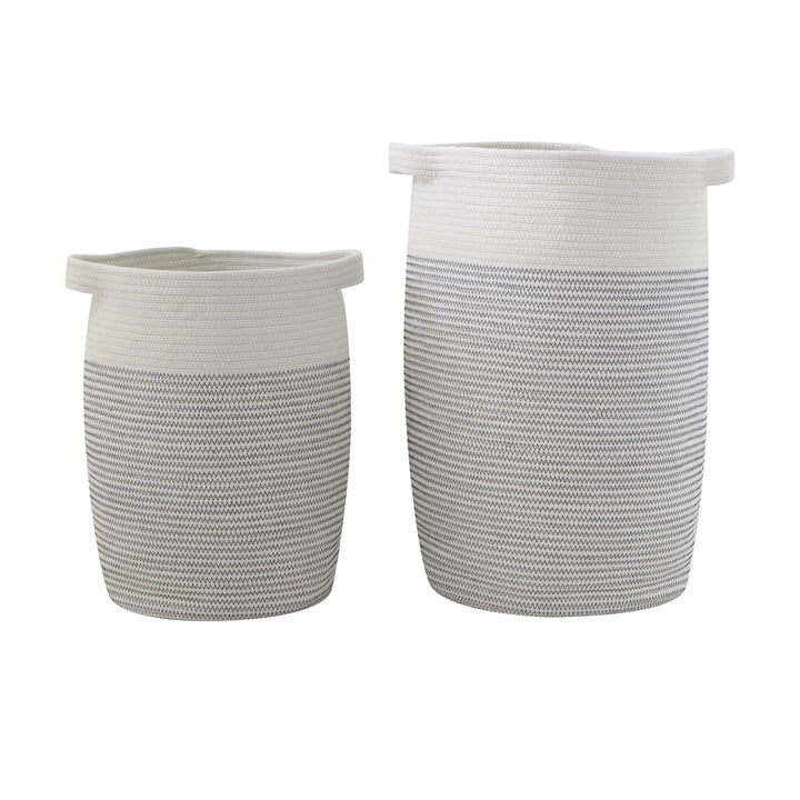 Ensemble de 2 Bloomingville paniers en coton gris/blanc