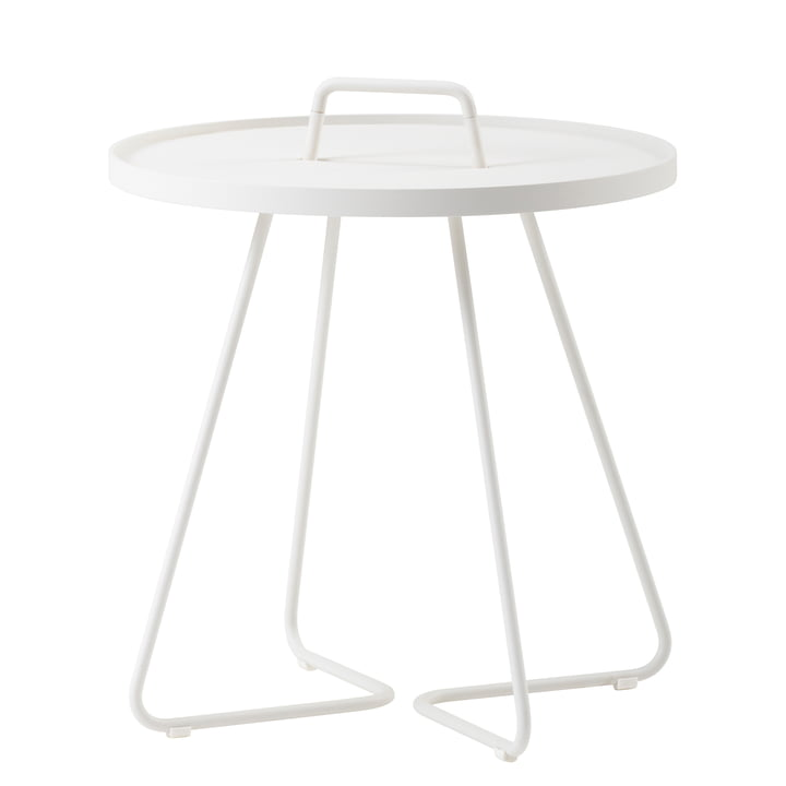 On-the-move Table d'appoint de Caneline en Ø 52 x H 60 cm / blanc