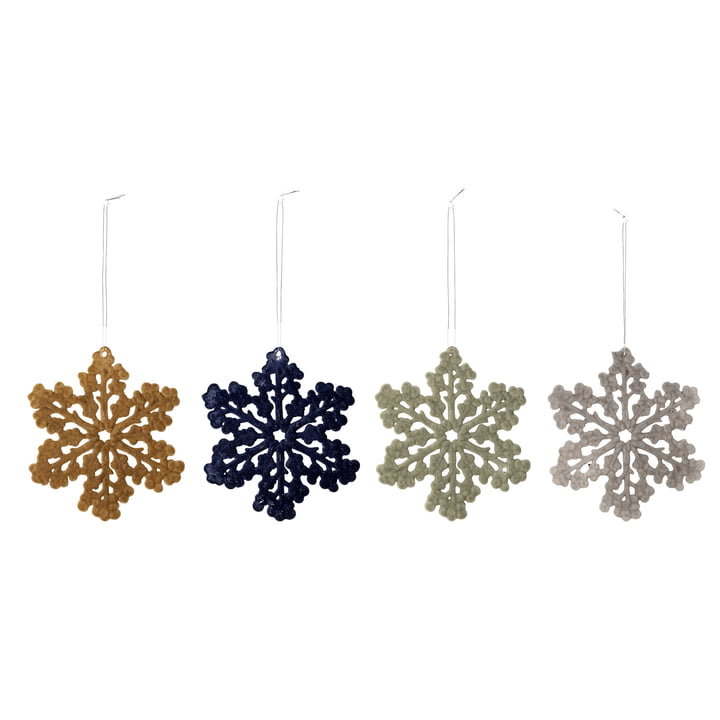 Ornements flocon de neige Ø 11,5 cm (lot de 4) de Bloomingville en multicolore