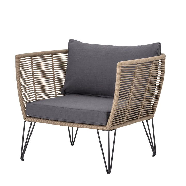 Chaise longue Mundo avec coussin Bloomingville en marron / gris