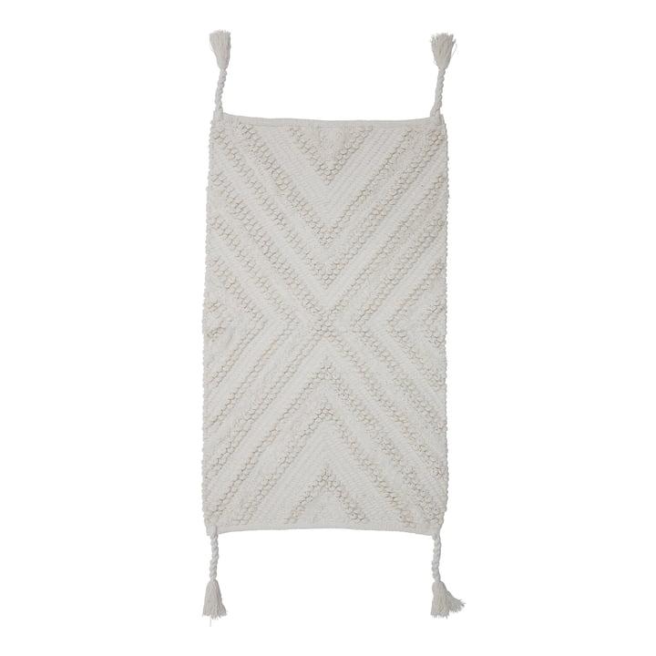 tapis à glands 95 x 55 cm Bloomingville en blanc