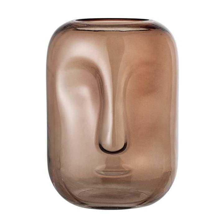 Vase avec face Bloomingville en verre de couleur marron