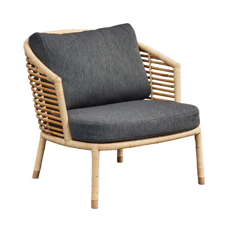 Sense Chaise longue, naturelle / gris foncé de Cane-line