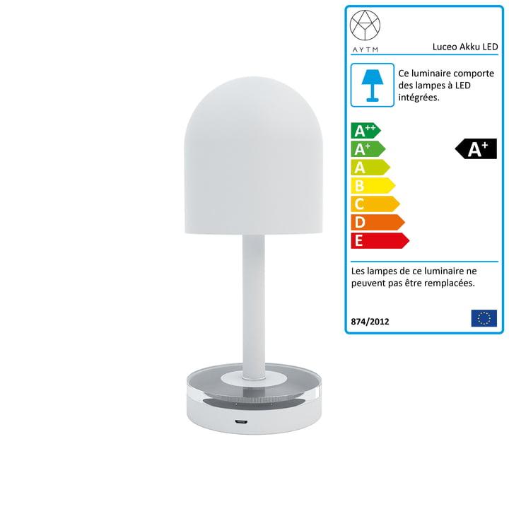 Luceo Lampe de table LED à piles Ø 9 x H 22 cm de AYTM en blanc / clair