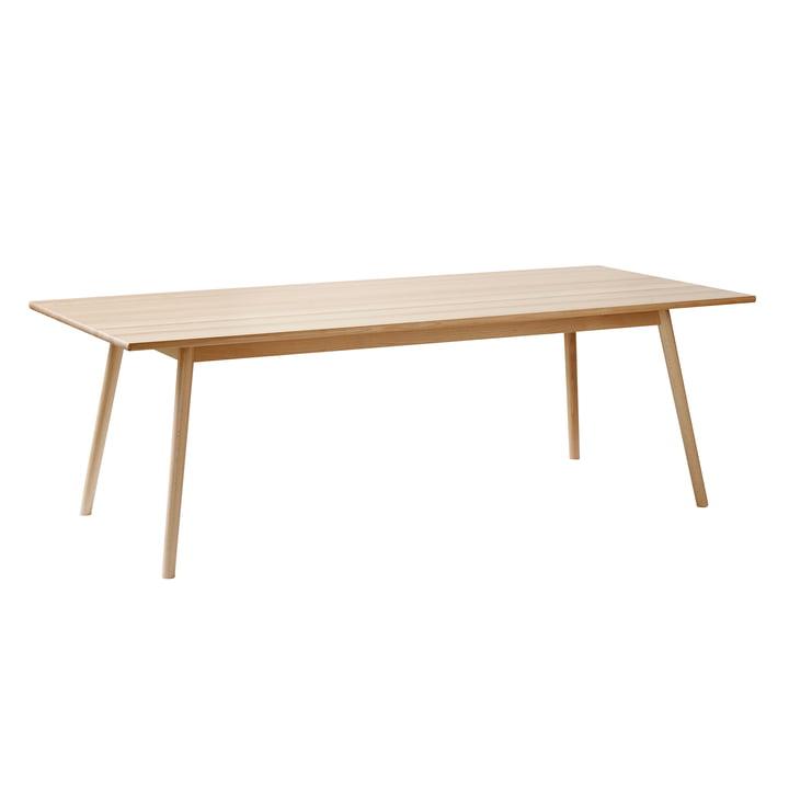 Table à manger C35C en 95 x 220 cm, hêtre pigmenté blanc verni par FDB Møbler en vue unique