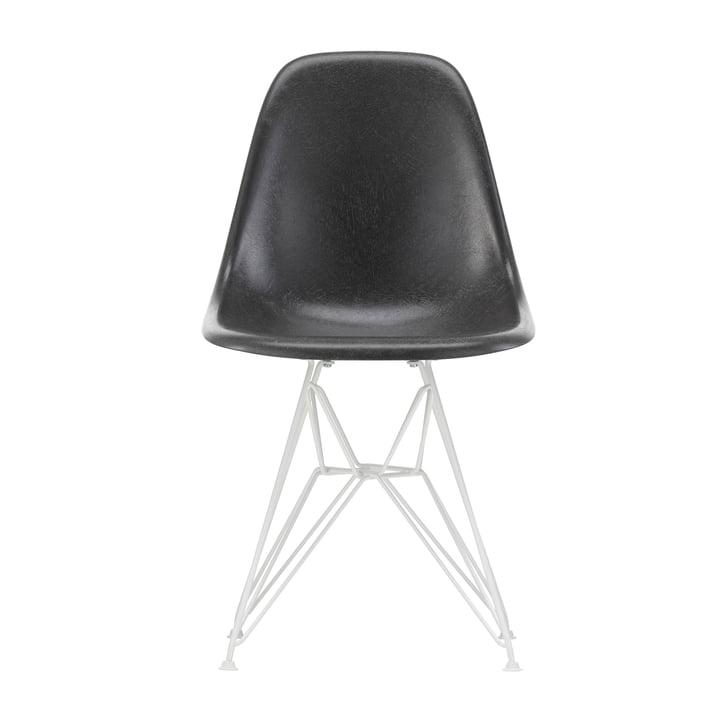 Chaise d'appoint Eames en fibre de verre DSR de Vitra couleur blanche / Eames en cuir d'éléphant gris (patins en feutre blanc)