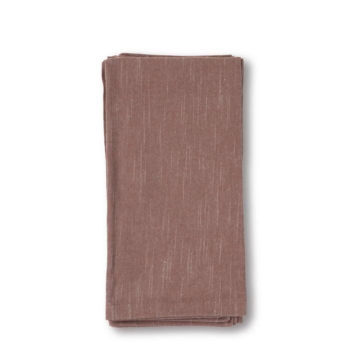 Basic Serviettes en tissu 45 x 45 cm de Juna en rouge poussiéreux (lot de 4)