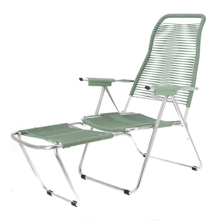 chaise longue Spaghetti de Fiam dans cadre aluminium / couverture sauge