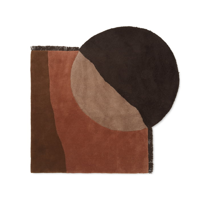 View Tufted Tapis par ferm Vivre en rouge / brun