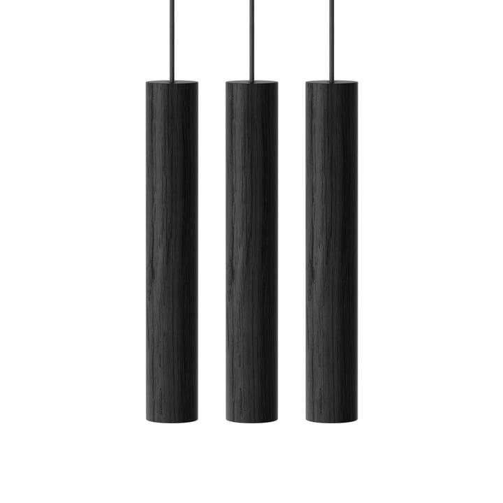 Chimes Lampe pendante Cluster 3 LED, Ø 3 x 22 cm, noir de Umage