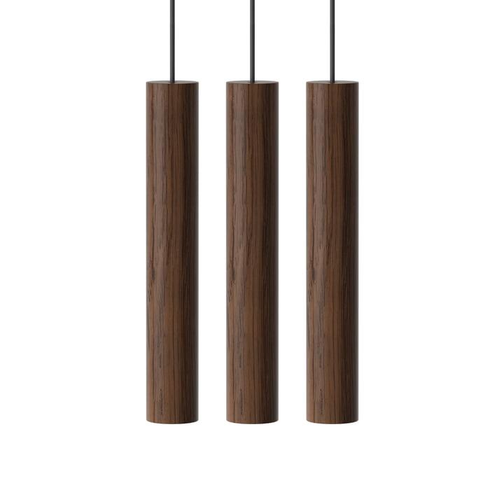 Chimes Lampe pendante Cluster 3 LED, Ø 3 x 22 cm, chêne foncé de Umage