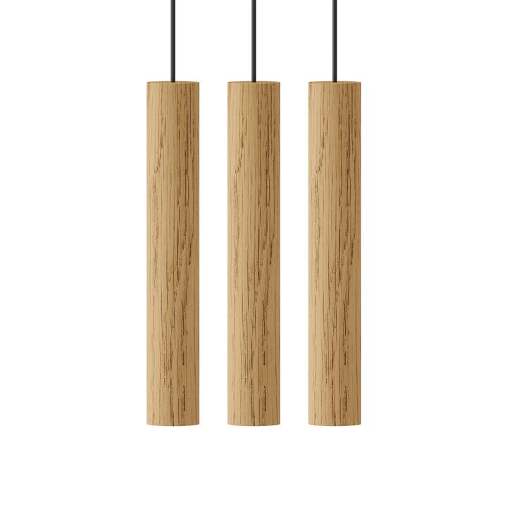 Chimes Cluster 3 LED lampe à suspension, Ø 3 x 22 cm, chêne de Umage