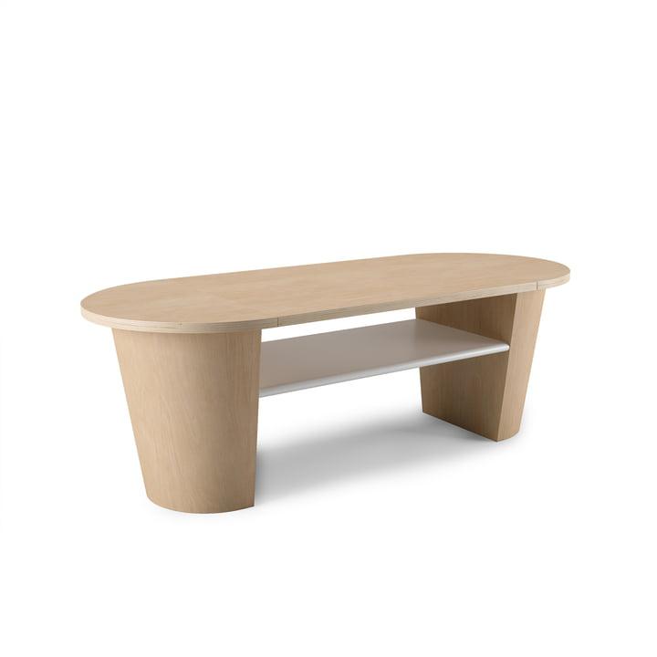 Table basse Woodrow avec espace de rangement Umbra en nature / blanc