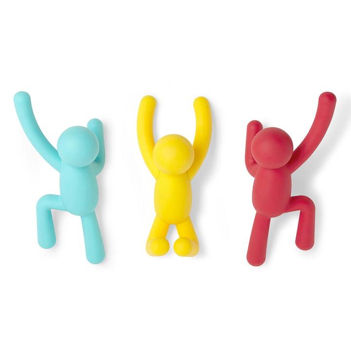 Buddy set de 3 crochets muraux de Umbra en bleu / jaune / rouge