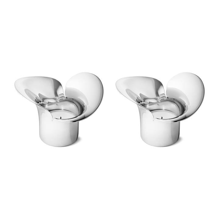 Lot de 2 porte-bougies Bloom Botanica, en acier inoxydable de Georg Jensen