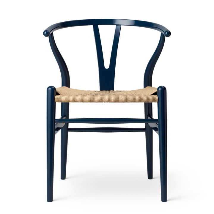 CH24 Wishbone Chair en Carl Hansen hêtre Bleu marine brillant / Vannerie naturelle (Edition limitée anniversaire)