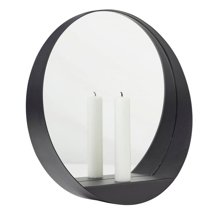 Glim Candle Miroir mural Ø 28 cm de Gejst en noir