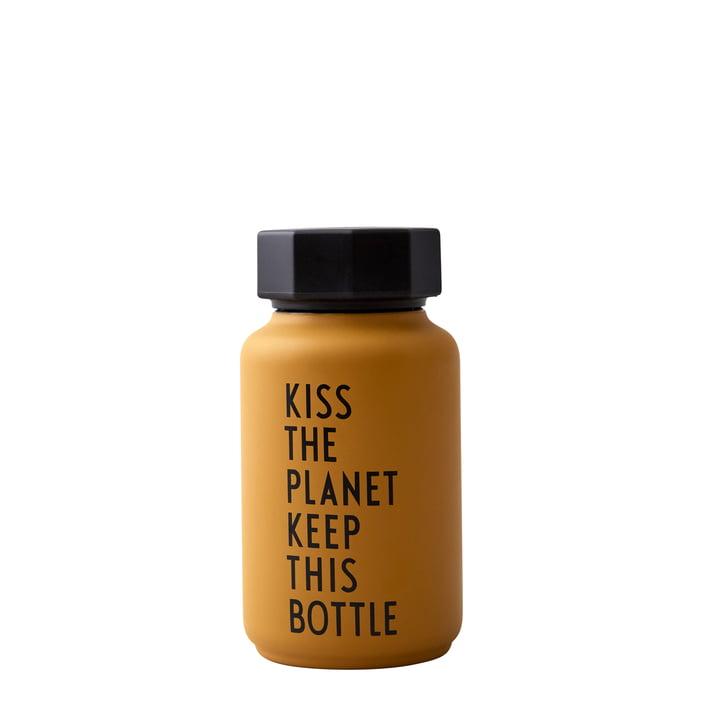 Bouteille AJ Thermos Hot & Cold 0,33 l, Kiss The Planet Keep This Bottle / moutarde (édition spéciale) par Design Letters