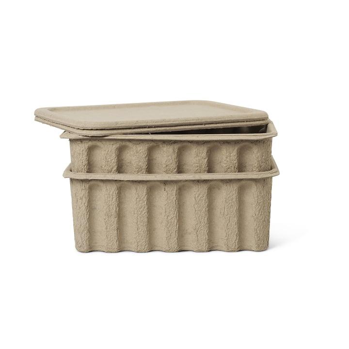 Boîte de stockage de la pâte à papier par ferm Living in brown (lot de 2)