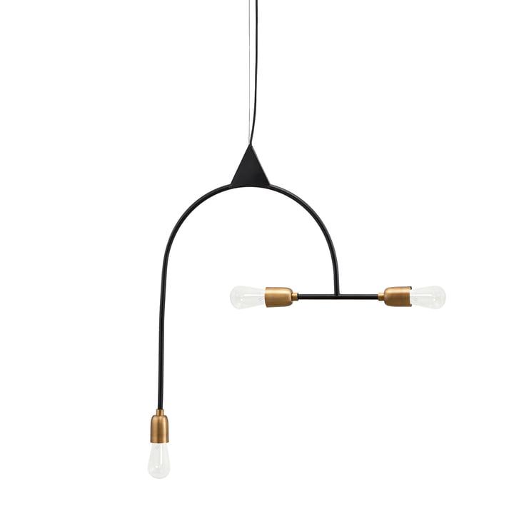 Arch Lampe à suspension, 3 luminaires, noir / laiton de House Doctor