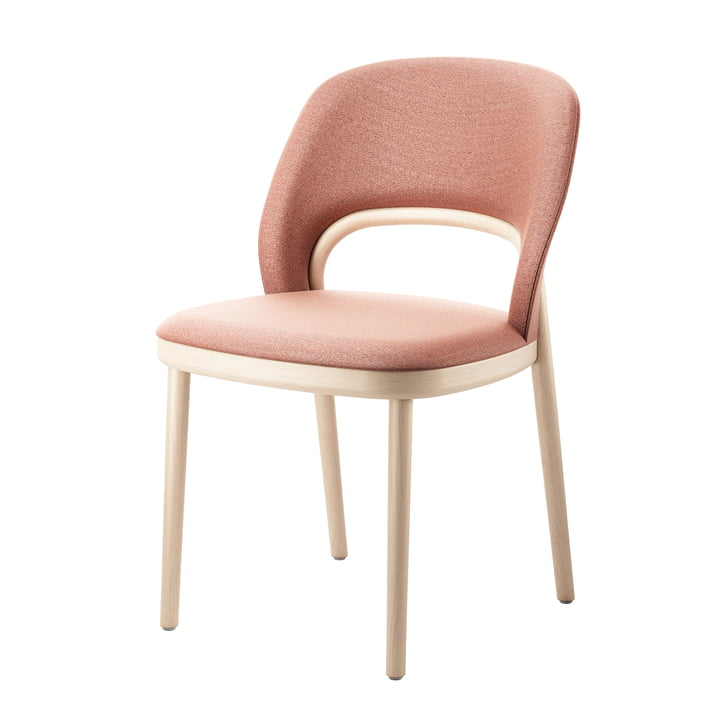 520 P Chaise rembourrée en hêtre Thonet teinté (TP 107 éclairci) / rose antique (Mood 3105)