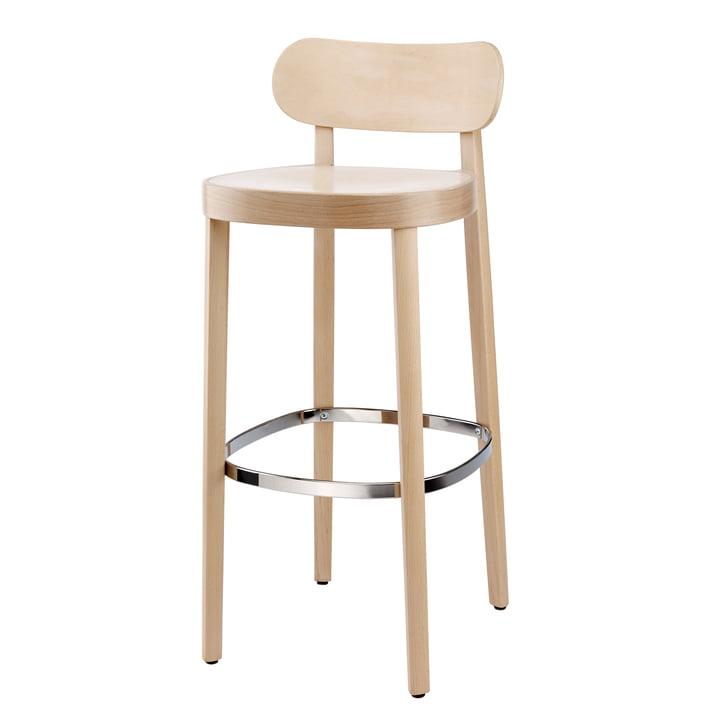 118 H Chaise de bar en hêtre Thonet teinté (TP 107 allégé) / assise : siège à auge