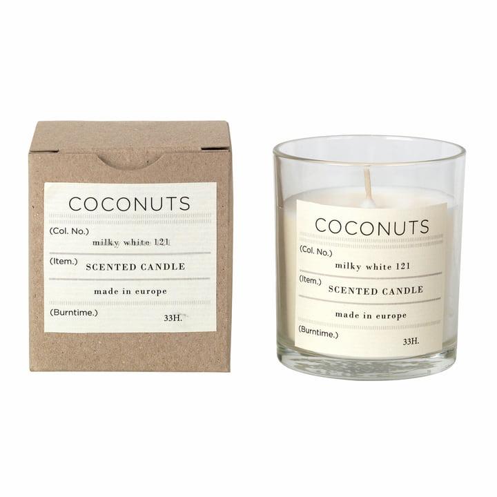 Bougie parfumée à la noix de coco, Ø 8 x H 8 cm, blanc de Broste Copenhagen