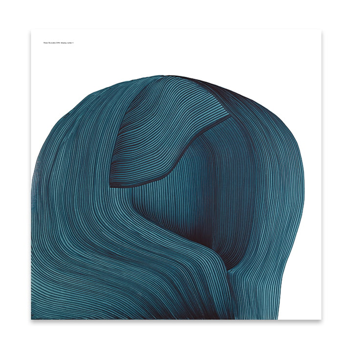Drawing 4 affiches 69 x 69 cm de The Wrong Shop en bleu