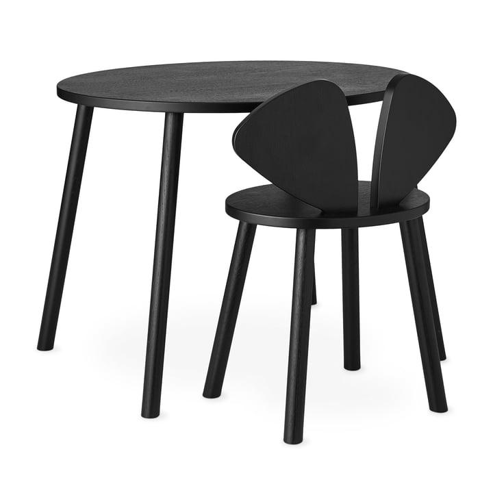 Mouse School Set (Junior - chaise et table) de Nofred dans noir