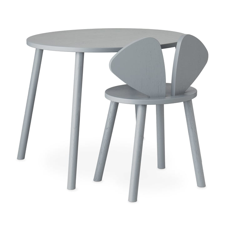 Mouse School Set (Junior - chaise et table) de Nofred dans gris