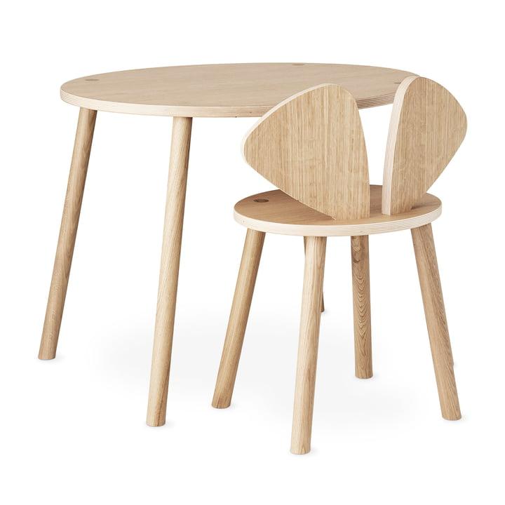 Mouse School Set (Junior - chaise et table) Nofred en chêne laqué mat