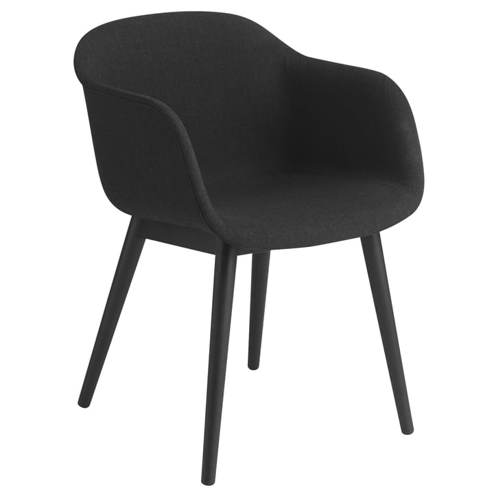 Fiber Chair Wood Base, noir / Remix 183 par Muuto