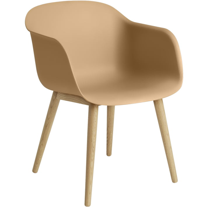 Chaise en fibre Base en bois, chêne / ocre de Muuto