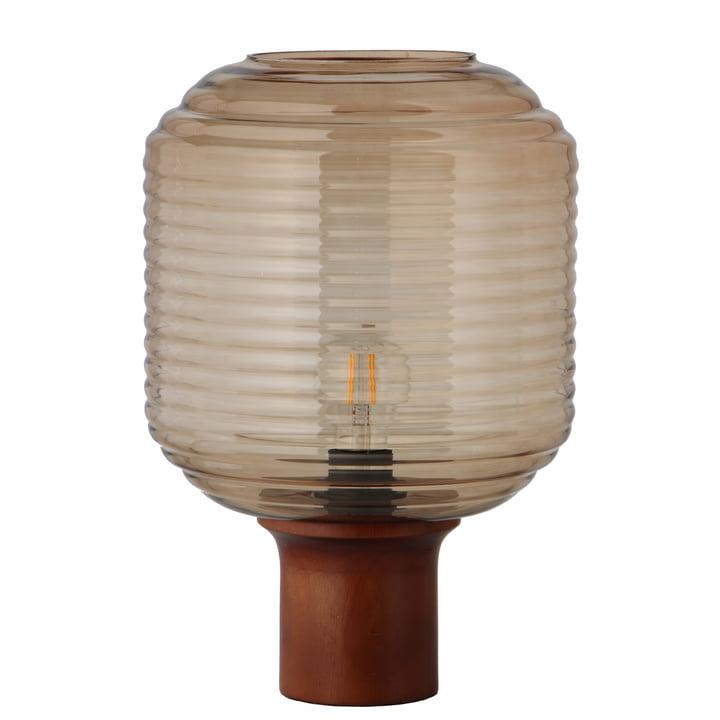 Honey Lampe de table Ø 26 cm, verre ambre / bois de caoutchouc teinté foncé par Frandsen