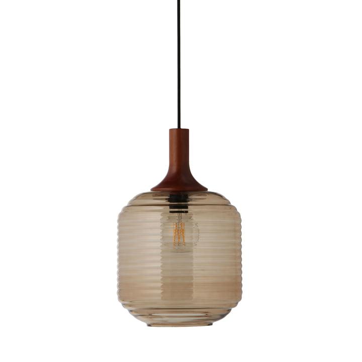 Honey Lampe à suspension Ø 26 cm, verre ambre / bois d'hévéa foncé teinté par Frandsen