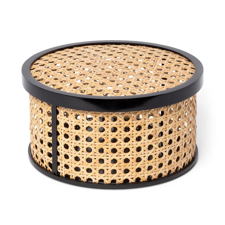 Kanne Boîte de rangement ronde, en osier / noir de Doiy