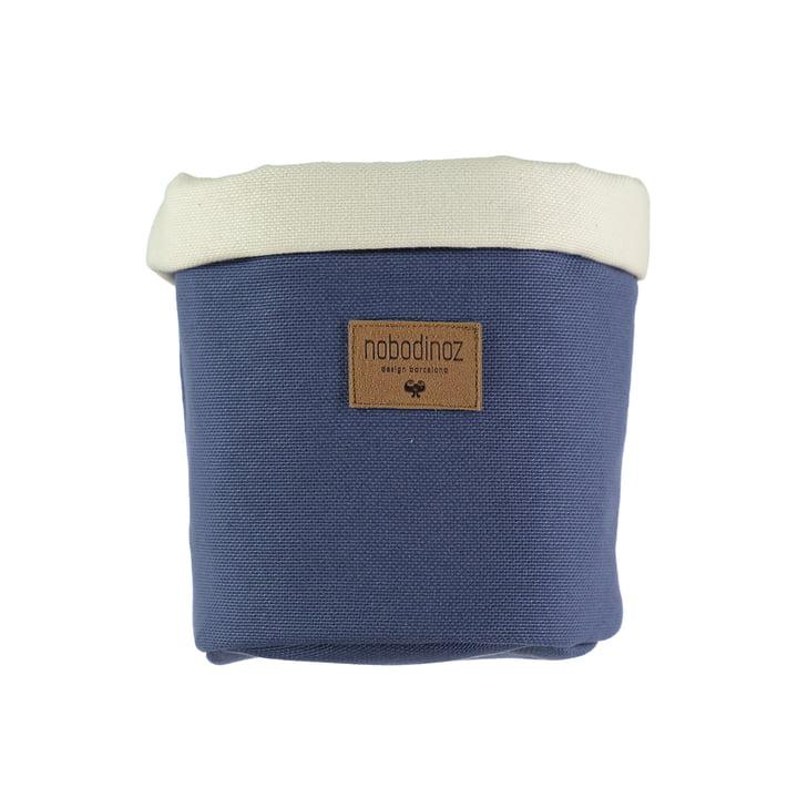 Panier de rangement Tango moyen, Ø 19 x H 24 cm, bleu égéen par Nobodinoz