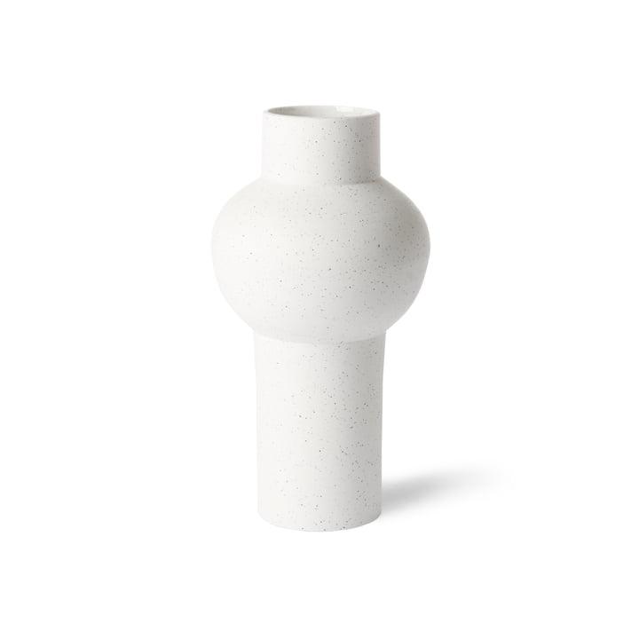 HKliving - vase droit M, Ø 15 x 30,5 H cm, blanc moucheté