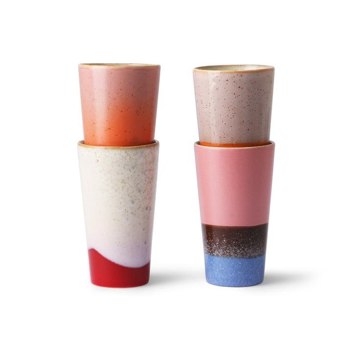 70's Tasse à café à lait 0,28 l (4 pièces) de HKliving en multicolore