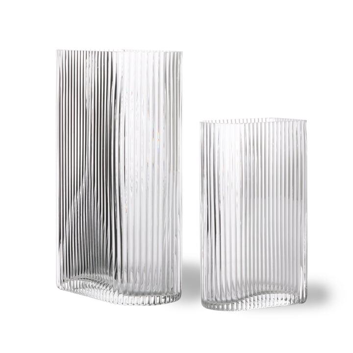 Ribbed vase en verre clair (set of 2) par HKliving