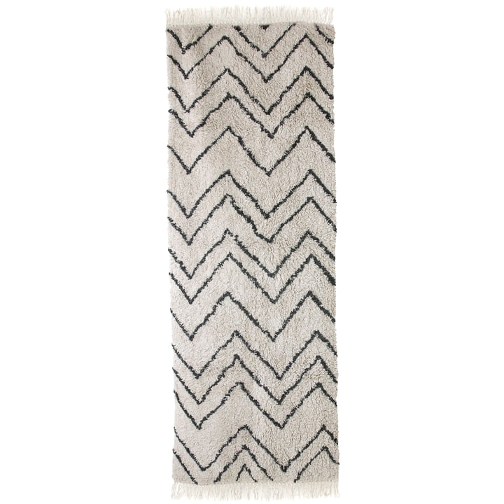 Runner Zigzag 75 x 220 cm par HKliving en noir et blanc