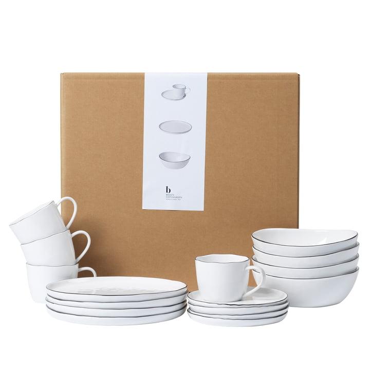 Service de petit-déjeuner en Salt, blanc / noir de Broste Copenhagen