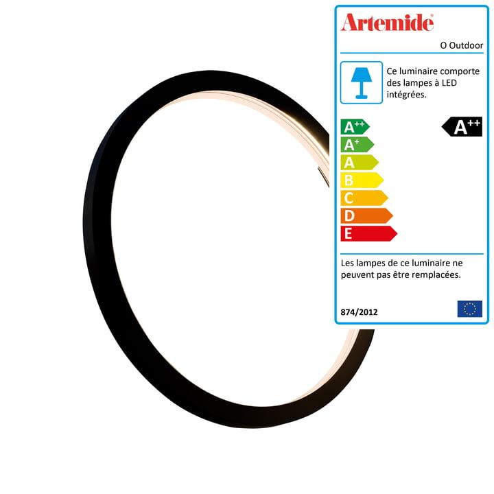 Applique et plafonnier O Outdoor LED Ø 45 cm, noir - Artemide