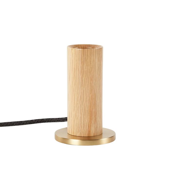 Chêne Knuckle Lampe de table, chêne / laiton (UE) de Tala .