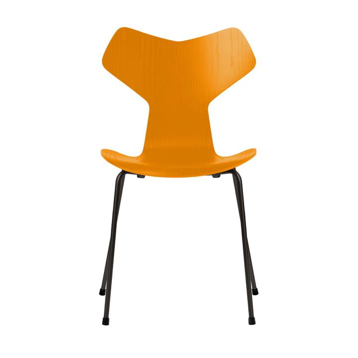 Chaise Grand Prix de Fritz Hansen en frêne de couleur jaune brûlé / structure noire