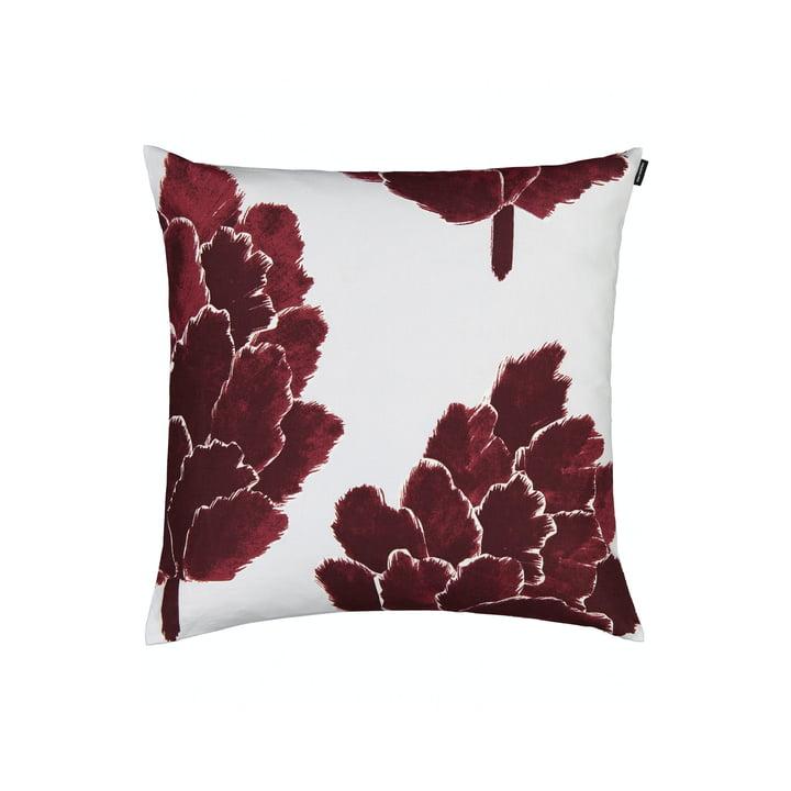 La taie d'oreiller Käpykukka 50 x 50 cm, gris clair / vin rouge par Marimekko