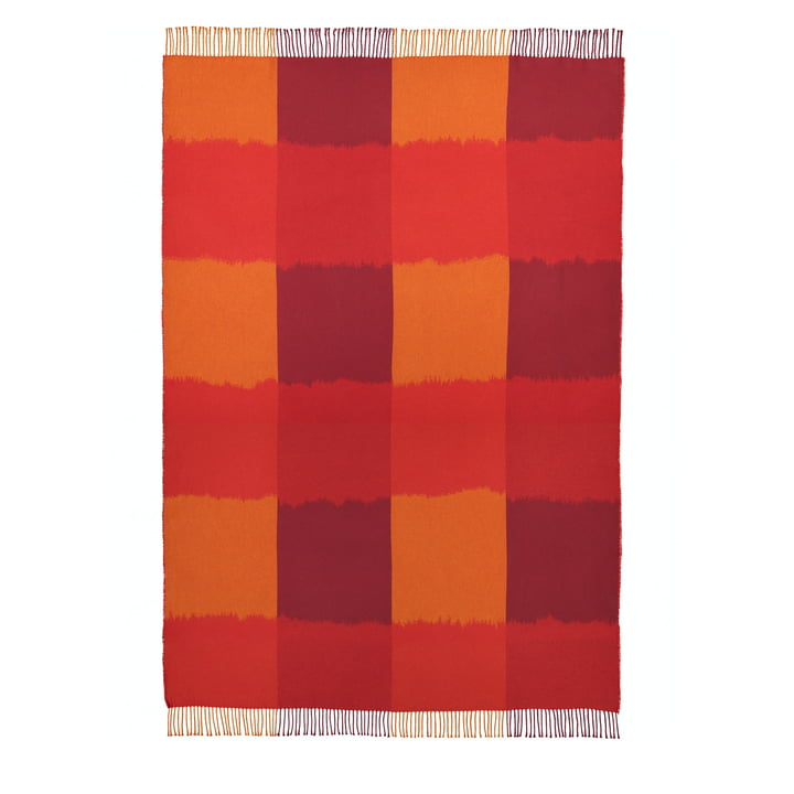 La couverture Ostjakki 120 x 185 cm, rouge / orange / marron par Marimekko